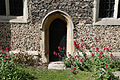 Church of St Andrew, Willingale, Essex, England - exterior chancel door from south.JPG