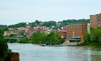 Morgantown, West Virginia - West Virginia University downtown campus from the Monongahela River