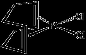 Dichloro(cycloocta-1,5-diene)platinum(II) - Image: Cl 2Ptcod