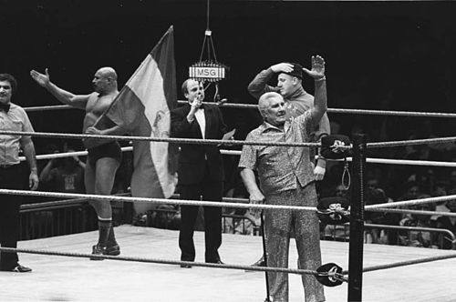 Sheik (second-to-last left) with Freddie Blassie and Nikolai Volkoff. Classy Freddie Blassie.jpg