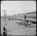 Closing of the Jerome Relocation Center, Denson, Arkansas. Trucks carrying Jerome residents from th . . . - NARA - 539657.tif