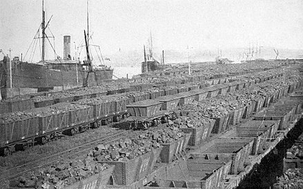 Coal awaiting shipment from Newcastle, 1891 Coal shipment from Newcastle, New South Wales, Australia (1891).jpg