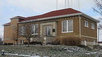 National Register of Historic Places listings in Clinton County, Indiana - Image: Colfax Carnegie Library from south