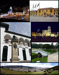 Top left:Night view of Tunja Bolivar Square, Top right:House of Tunja Gonzalo Suarez Rendon, Middle left:Statue of Don Johan do Castellanos in Mayor Square, Middle upper left:Night view of Tunja Metropolitan Cathedral, middle lower right:The Boyaca Bridge in Boyaca Field, Bottom:Panorama view of Tunja, from north of hill