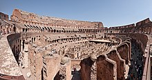 A panorama of the interior of the Colosseum in 2011