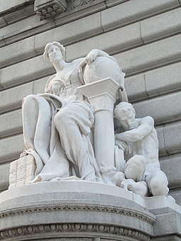 Commerce by Daniel Chester French at the Metzenbaum U.S. Courthouse on Superior Avenue. Commerce by Daniel Chester French, 1912 - Cleveland, Ohio - DSC07918.JPG