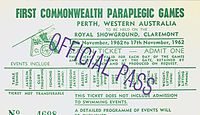Commonwealth Paraplegic Games 1962 Official Pass