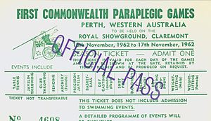 1962 Commonwealth Paraplegic Games - Image: Commonwealth Paraplegic Games 1962 Official Pass