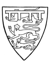 "Fig. 701.—Edmund ""Crouchback,"" Earl of Lancaster, second son of Henry III. (From his tomb.) His arms are elsewhere given: De goules ove trois leopardes passantz dor, et lambel dazure florete d'or."