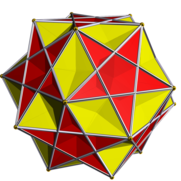 Compound of small ditrigonal icosidodecahedron and the compound of five cubes.png