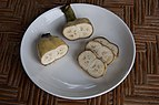 Conjoined babanas, sliced in a plate.jpg