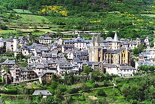 Conques Place in Occitanie, France