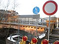 Construction works in Marburg, Lahn river bridge Weidenhäuser Brücke without fence 2018-02-27.jpg