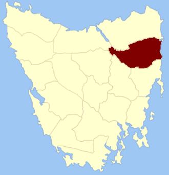 Cornwall Land District - Location in Tasmania