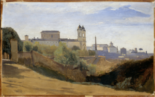Rome, Monte Pincio and Trinité des Monts, seen from the gardens of the Académie de France