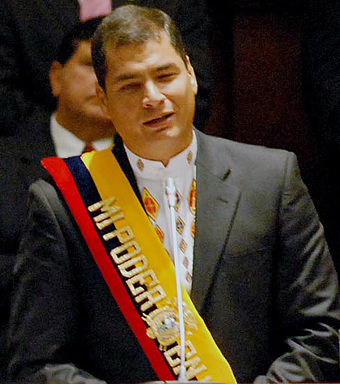 The former President Rafael Correa assumed office on January 15, 2007 Correarafael15012007.jpg