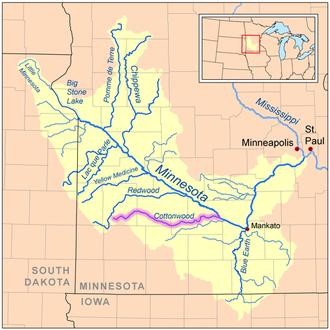 Cottonwood River (Minnesota) - Image: Cottonwoodmnrivermap
