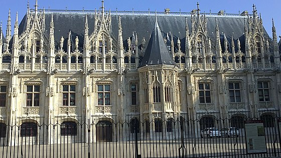 Gothic facade of the Parlement de Rouen in France, built between 1499 and 1508, which later inspired neo-Gothic revival in the 19th century Cour du Palais de Justice de ROUEN, facade.jpg