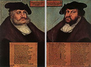 Cranach, Portraits of Johann I and Frederick III the wise, Electors of Saxony.jpg