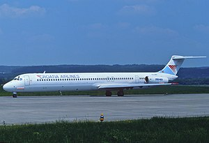 Croatia Airlines - A former Croatia Airlines McDonnell Douglas MD-82 in June 1991