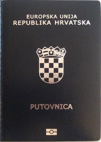 Croatian passport - The front cover of a contemporary Croatian biometric passport.