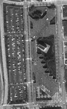 Aerial view of the building