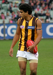 Cyril Rioli playing in an AFL match for Hawthorn in May 2008.
