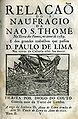 D. Paulo de Lima, Nau S. Thomé na terra dos Fumes, 1598, por Diogo do Couto.jpg