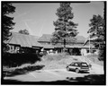DISTANT VIEW OF FRONT, LOOKING WEST - Bryce Canyon Lodge, Bryce Canyon, Garfield County, UT HABS UTAH,9-BRYCA,1-3.tif