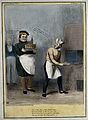"Daniel O'Connell as a baker holds a cake inscribed ""Irish ti Wellcome V0050229.jpg"
