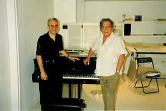 David M. Arden - David Arden (lft.) with Luciano Berio in Berio's Florence studio
