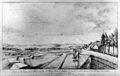 De zuidelijke walmuur van de Sint Pieterspoort naar het westen, naar tekening van Dijk in de verzameling van Dijk - Maastricht - 20145318 - RCE.jpg