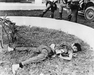 1968 in the Vietnam War - Dead Viet Cong soldier killed during the First Battle of Saigon