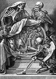 Death, symbolism; three skeletons with roundel of corpses, Wellcome L0000680.jpg