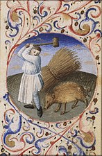 December - a man slaughtering a pig - Book of hours Simon de Varie - KB 74 G37a - 099r det randv 1.jpg
