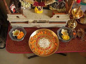 Puja thali - Decorated Puja thali in Puja place
