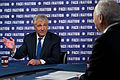 "Defense Secretary Chuck Hagel discusses the president's fiscal 2015 budget plan and the situation in Ukraine during an interview with Bob Schieffer, host of CBS' ""Face the Nation,"" that 130106-D-BW835-021a.jpg"