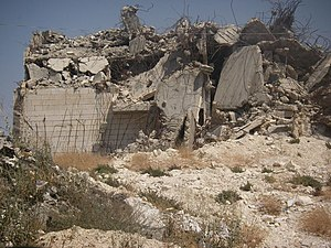 House demolition in the Israeli–Palestinian conflict - A Palestinian home after demolition by Israeli military forces.