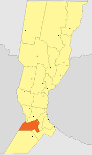Location of Caseros Department within Santa Fe Province