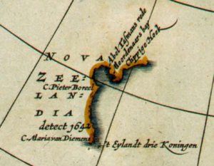 Detail of 1657 map Polus Antarcticus by Jan Janssonius, showing Nova Zeelandia