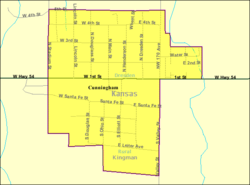 Detailed map of Cunningham, Kansas