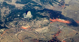 Red beds - Redbeds of the Permo-Triassic Spearfish formation surround Devils Tower National Monument