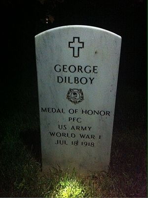 George Dilboy - Front of George Dilboy's headstone in Arlington National Cemetery