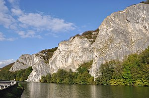 Meuse - The Meuse and the Rochers de Freÿr, in front of the Castle of Freÿr south of Dinant