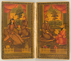 Hafez - Doublures inside a 19th-century copy of the Divān of Hafez. The front doublure shows Hafez offering his work to a patron.