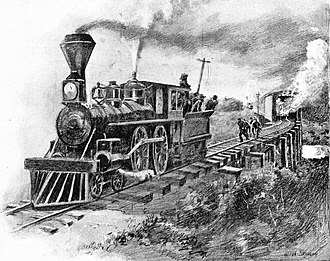 Great Locomotive Chase - The raiders set a train car on fire to try to ignite a covered railway bridge and thwart pursuit, from Deeds of Valor
