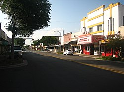 Historic downtown Beeville showing the Rialto Theater