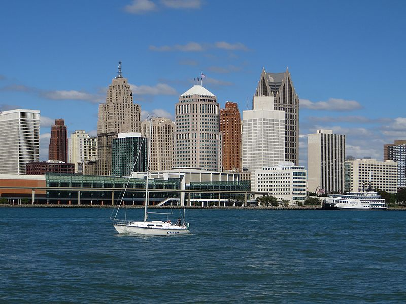 A photograph of downtown Detroit, Michigan, taken from the Detroit River.