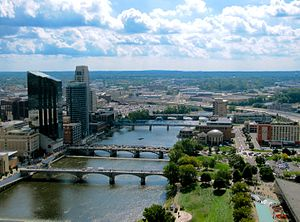 Kent County, Michigan - The Grand River in downtown Grand Rapids