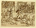 Drawing, Sketchbook Page with Romans Fighting an Elephant, ca. 1590 (CH 18110043).jpg